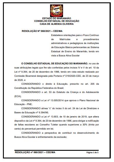 Conselho Estadual de Educação do Maranhão estabelece orientações para matrículas de fluxo contínuo